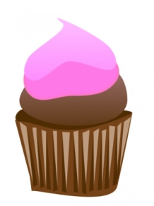 Chocolate Cupcake with Pink Frosting Free Clip Art