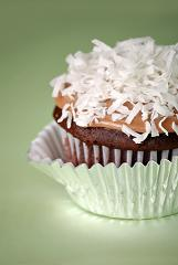 Chocolate cupcake with shredded coconut