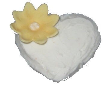heart cupcake with yellow flower