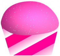 Pink Striped Cupcake Free Clip Art