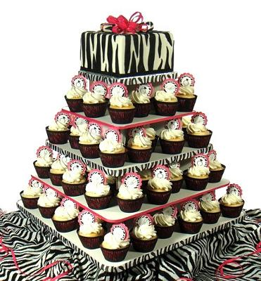 Decorated Eco-Cupcake Stand in Zebra Theme